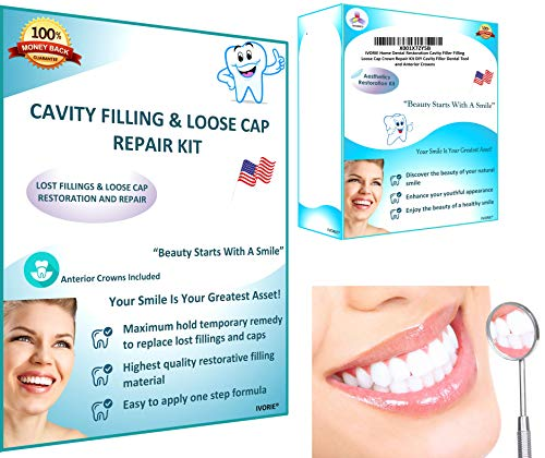 IVORIE Dental Restoration Cavity Filler Filling Loose Cap Crown Repair Kit Cavity Filler and Anterior Crowns
