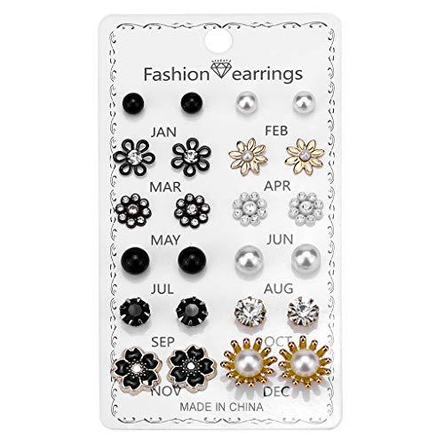 Vfhdd 12 Pair Stud Earrings Kit for Women Men Flower Heart Star Moon Ball Earrings Set