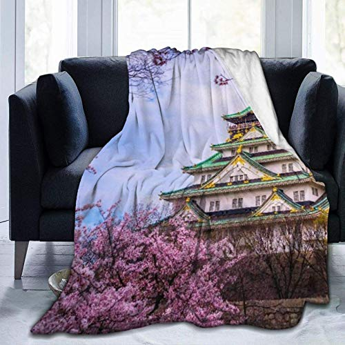 Manta personalizada de Osaka, Castillo Japón con flores de cerezo de Sakura y suave, cómoda manta de felpa para sofá, dormitorio, viaje, manta mullida de 106 x 127 cm