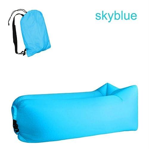 Rioneon Air bedlumière Sac de Couchage Sac Gonflable imperméable canapé Paresseux Sacs de Couchage de Camping air lit Adulte Chaise de Plage Adulte Se Pliant RapideHommest Bleu Ciel