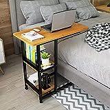 YWYW Mesa Auxiliar Mesa para portátil Mesa de sofá Mesas auxiliares Mesa de sobremesa con Ruedas Inferiores deslizantes Libres, Soporte para portátil de Mesa en Forma de C, Escritorio para portát