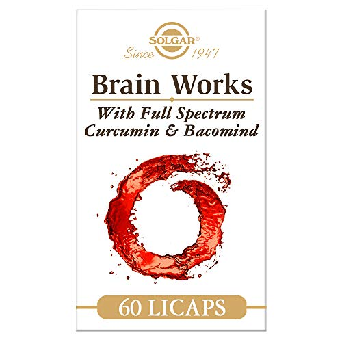 Solgar Brain Works with Full Spectrum Curcumin & BacoMind, Choline, B12, 60 Pack, White/Red