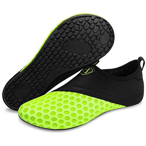 Barerun Water Shoes Mens Womens Beach Swim Shoes Quick-Dry Aqua Socks Pool Shoes for Surf Yoga Water Aerobics Yellow 12-13 US Men
