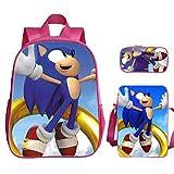 XINFAN Mochila Escolar Sonic 3 unids/Set 16 Pulgadas Lightning Mouse Sonic Kindergarten Secundaria Secundaria Un Hombro Messenger Bag Estuche de lápices de Gran Capacidad