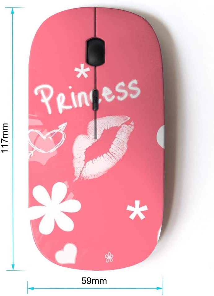 STPlus Princess Girly For girls 2.4 GHz Wireless Mouse with Ergonomic Design and Nano Receiver