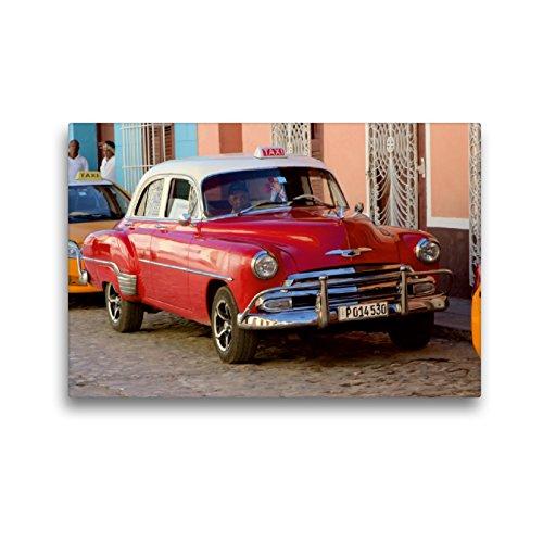 CALVENDO Premium Textil-Leinwand 45 cm x 30 cm Transversal, Chevrolet Oldtimer en Cuba š Wandbild, Imagen en Keilrahmen, Fertigbild en verdadera Lienzo, Leinwanddruck Mobilitaet Mobilitaet