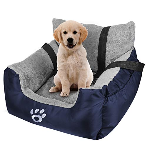 FAREYY Dog Car Seat for Small Dogs or Cats, Pet Booster Seat Travel Dog Car Bed with Storage Pocket and Clip-On Safety Leash, Washable Warm Plush Dog...