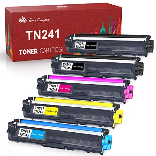 Toner Kingdom Cartucho de Tóner Compatible Repuesto para Brother TN241 TN245 para DCP-9020CDW DCP-9015CDW HL-3140CW HL-3150CDW HL-3170CDW MFC-9130CW MFC-9140CDN MFC-9330CDW MFC-9340CDW (5 Paquete)
