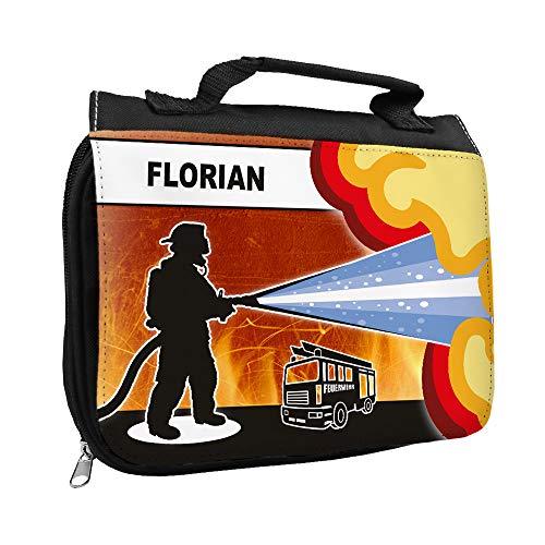 Kulturbeutel mit Namen Florian und Feuerwehr-Motiv für Jungen | Kulturtasche mit Vornamen | Waschtasche für Kinder