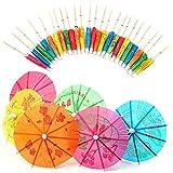 Sungpunet - Sombrillas de Papel variadas para cócteles, 50 Unidades, para Fiestas, Bebidas Tropicales, Etiquetas de Frutas, Etiquetas de Vino - Accesorios de cóctel