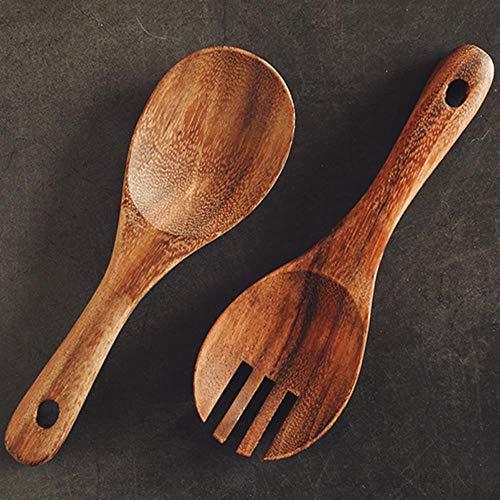 Vkio - Juego de tenedores de madera para arroz, cuchara, cuchara, cuchara, cuchara, cuchara de ensalada, cubiertos de madera