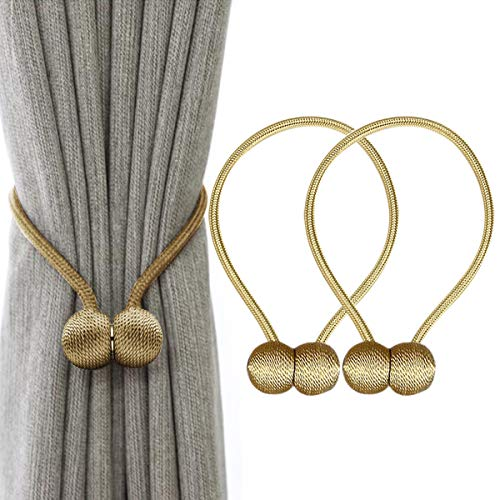 IHClink Magnetische Vorhang Raffhalter Vorhang Clips Seil Rückwärtige Vorhang Halter Schnallen Vorhang Binder Vorhängehalter für Haus Dekoration 2 Stück Gold (EU patent 004522746-0001) …