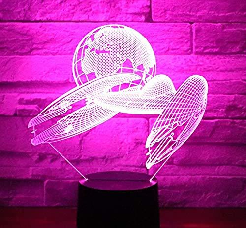 3D Led Night Light dirigeable vaisseau spatial Terre avec 7 couleurs lumière pour la décoration de la maison lampe incroyable visualisation illusion d'optique