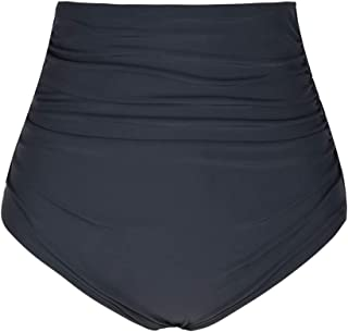 Hilor Women's High Waisted Bikini Bottom Shirred Hispter Tankini Briefs Swim Shorts