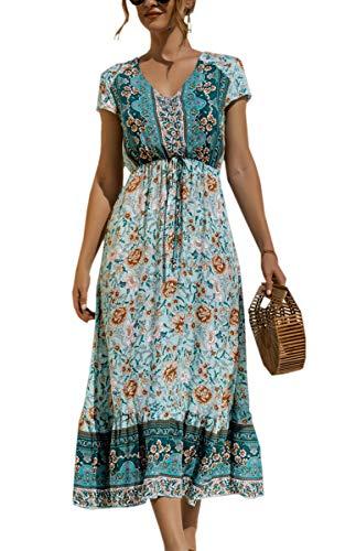 Spec4Y Maxikleid Damen Sommer Blumen Sommerkleider Lang Kleider Kurzarm V-Ausschnitt Strandkleider mit Kordelzug 2159 Grün XX-Large