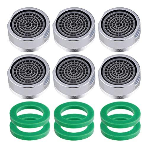 ifundom Aireador de grifo, 6/24 juegos de aireador de grifo con junta de fregadero aireador de piezas de repuesto para baño o cocina