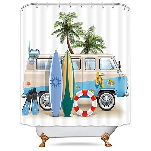 Riyidecor Duschvorhang, beschwerter Saum, für Strand, Camping, Essen, Sonnenlicht, Palmen, Blau, Auto-Dekor, Stoff, Polyester, wasserdicht, 183 x 190 cm, 12 Stück Kunststoffhaken