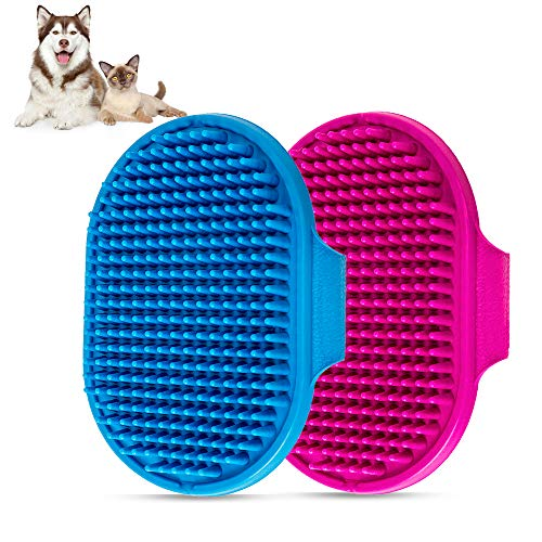 Dog Bath Brush , Aoche Pet Bath Comb Brush Soothing Massage Rubber Comb 2pcs with Adjustable Ring Handle for Long Short Haired Dogs and Cats (blue+rose)