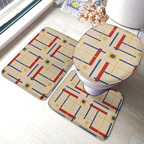 A Nod To Bauhaus Circle, juego de alfombras de baño antideslizantes de 3 piezas, almohadillas antideslizantes para sala de estar, alfombrilla de baño + tapa de inodoro