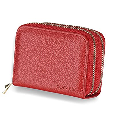 Women Credit Card Wallet, COCASES RFID Blocking Genuine Leather Double Zipper Card Holder Purse