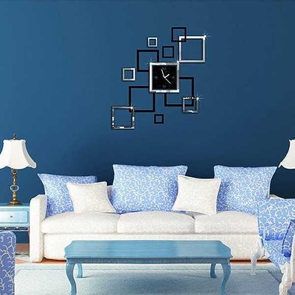 Potelin Premium Quality DIY Acrylic Clock Design Mirror Effect Mural Wall Sticker Fashion Home Decor Craft Black Silver