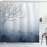 ABAKUHAUS Wald Duschvorhang, Mystic Romantische Landschaft, Hochwertig mit 12 Haken Set Leicht zu pflegen Farbfest Wasser Bakterie Resistent, 175 x 200 cm, Gray Denim