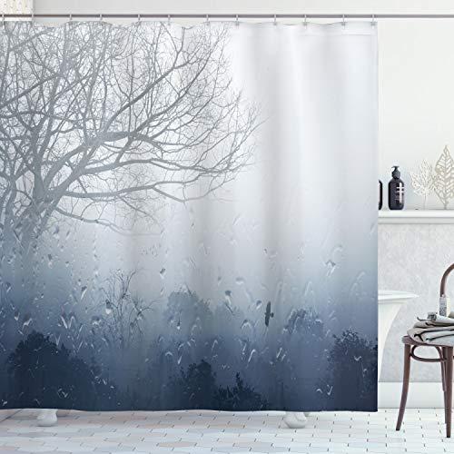 ABAKUHAUS Bosque Cortina de Baño, Paisaje romántico Mystic, Material Resistente al Agua Durable Estampa Digital, 175 x 200 cm, Denim Gris