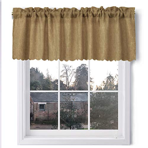 VORTTA Burlap Look Valance Curtains Soft Natural Rustic Tan Kitchen Curtains Valance with Scalloped Floral Hem 56 inch by 18 inch