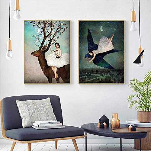 tzxdbh Christian Schloe Poster Vintage surreale Kunst Wandkunst Retro Wandbilder für Wohnzimmer Dekoration Maison Home Decor-in Einer Gruppe