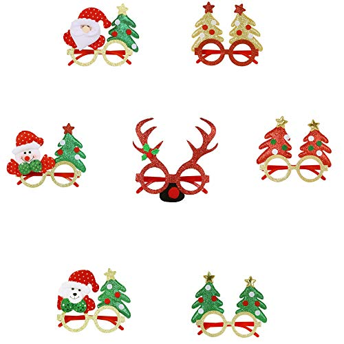 ZSSM 7 PCS Holiday Glasses,Cute Christmas Glasses Frames,Flexibility to Fit, Great Fun and Festive for Annual Holiday and Seasons Themes