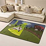 Indoor Modern Area Rugs Cartoon Non-Slip Backing Floor Carpets Farm Warehouse Grass Fences Cow Alien Abduction Funny Comics Image Artwork Print for Bedroom Play Room Game Safe Area (6'6'x8')