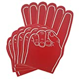 FUN FAN LINE - Conjunto de manos de espuma con dedo para fiestas y eventos deportivos. Guantes de animación niños y adultos Monocolor. Impresión a doble cara. (Rojo, 6 Uds)