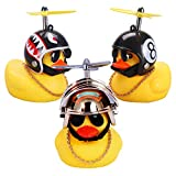 wonuu Duck Car Dashboard Decorations 3pack Rubber Duck for Car Car Accessories Rubber Duck with Thruster Helmet Sunglasses, and Gold Chain Cool Ornaments