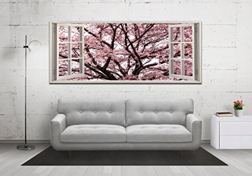 Cherry Blossom Tree View from a Window Panoramic Canvas Print Framed XXL 55 inch x 24 inch Over 4 foot wide x 2 foot high Ready to Hang