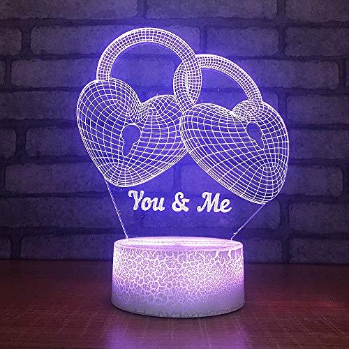 LLZGPZXYD Colorful 3D LED in hartvorm, blok, modelering, slaapkamer, decoratie van het huis, tafellamp, kinderen, nachtkastje geschenken Touch Switch