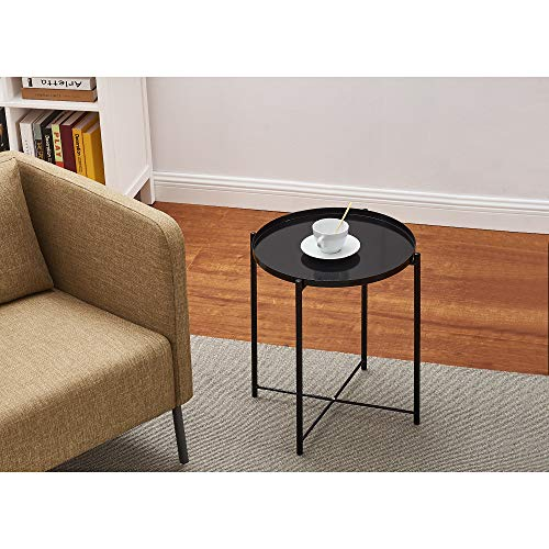 Keinode Round Coffee Table Tray Table Metal Side End Table Removable Tray Top for Bedroom Living Room Dinning Room Lounge Black