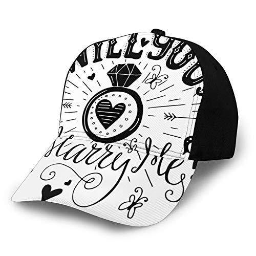 Gorra de béisbol con texto en inglés 'Will You Marry Me', diseño de corazones con imagen de celebración de pescador, sombrero de playa, protección solar, color morado para hombres y mujeres