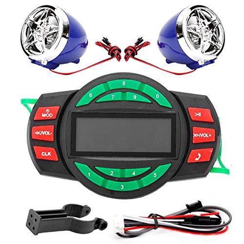 Reproductor de MP3 para motocicleta, Yctze LCD impermeable Reproductor de MP3 para motocicleta BT Altavoz de radio FM con carga de teléfono