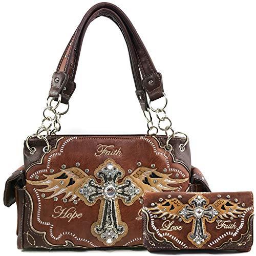 Justin West Women's Concealed Carry Angel Wings Cross Faith Hope Love Western Handbag Tote Purse (Brown Handbag Wallet Set)