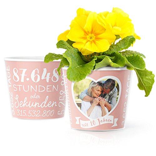 Facepot 10. Hochzeitstag Geschenk Blumentopf (ø16cm) | Für Frau, Mann oder Deko zur Rosenhochzeit mit Herz-Rahmen für EIN gemeinsames Foto (10x15cm) | Glücklich verheiratet - 10 Jahre