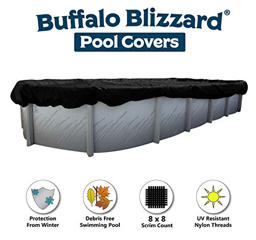 Buffalo Blizzard Deluxe Winter Cover for 16-Foot-by-24-Foot or 16-Foot-by-25-Foot Oval Above Ground Swimming Pools | Blue/Black Reversible | 3-Foot Additional Material for Secure Installation
