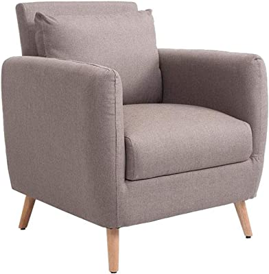 Butaca relax de madera tapizada en tela gris en 2020