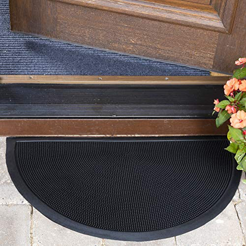 Ottomanson Rubber Collection Non-Slip Ribbed Design Doormat, 18' x 30', Black