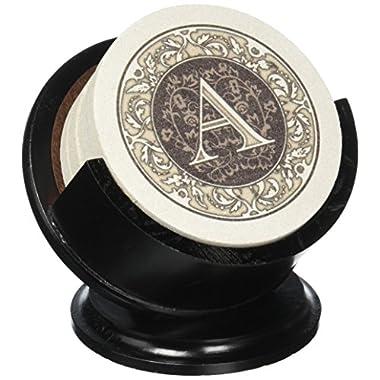 Thirstystone TSMA-H13 4 Piece Monogram Coaster Set with Pedestal Holder, Multicolor
