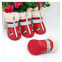 DHDHWL 犬のブーツ ウォームペットの犬の靴冬の防水ペット犬のブーツの靴雨雪ブーツ反射滑らない靴用小大犬 犬用靴 (Color : Red, Size : 4)
