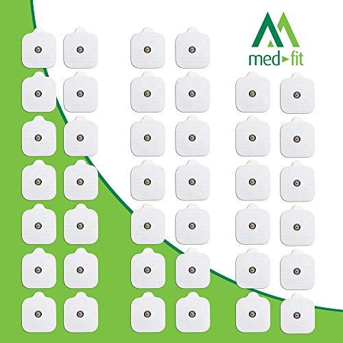 MED-FIT 5cmx5cm Flexi iSTIM 40 x 3.5mm Stud (tipo snap/boton) TENS Almohadillas autoadhesivas encajan con BEURER, SANITAS y VIRTUALMENTE todas las Maquinas de masaje TENS en Amazon.
