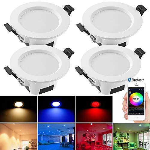 5 W LED Downlights für Decke, dimmbar, RGBWC (RGB + Warmweiß + Kaltweiß), Bluetooth Mesh Einbau-Deckenbeleuchtung für Badezimmer, Wohnzimmer, Küche, KTV, Bars, 4 Packs