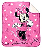 Disney Minnie Mouse Sweet Dots Sherpa Throw Blanket - Measures 50 x 60 inches, Kids Bedding - Fade Resistant Super Soft - (Official Disney Product)