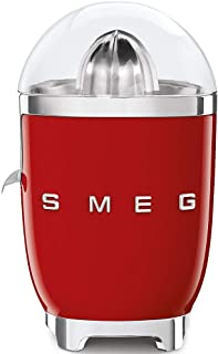 Smeg CJF01RDUK, 50's Retro Style Aesthetic Citrus Juicer with Juicing Bowl and Lid, Anti-Drip Stainless Steel Spout, Die-C...