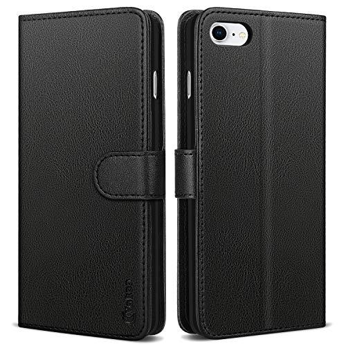 Vakoo Handyhülle für iPhone SE 2020 Hülle, iPhone 7 Hülle, iPhone 8 Hülle, Premium Leder Brieftasche Handytasche Schutzhülle Tasche für Apple iPhone 7/8/SE 2020 Flip Hülle - Schwarz